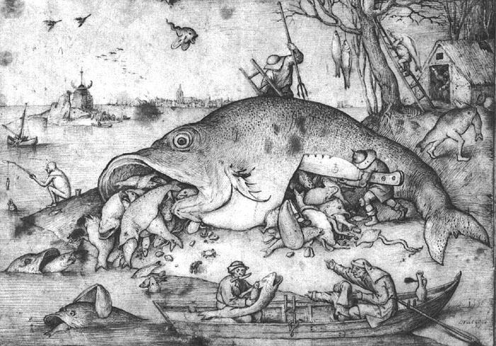 Wielkie ryby pożerają małe