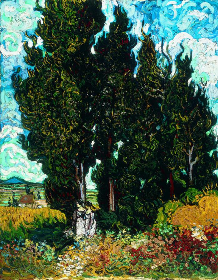 Cyprysy z dwiema postaciami kobiet – Vincent van Gogh