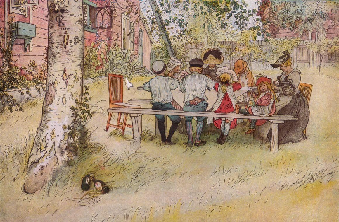 Frukost under stora björken - Carl Larsson